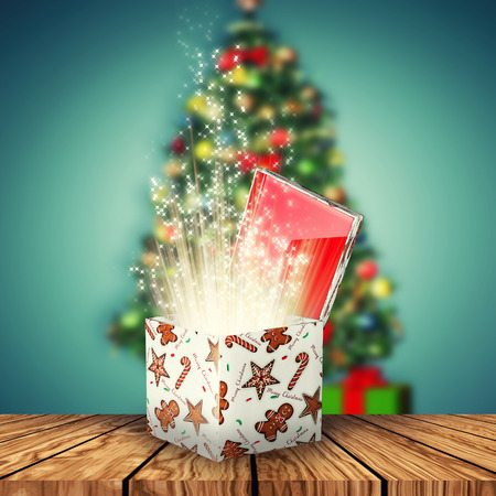 3d illustration of a magical gift box for christmas time Stock Photo