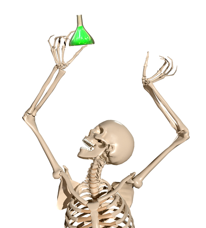 3d human skeleton holding science tube in hands