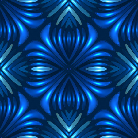 3d blue seamless floral abstract background Stock Photo