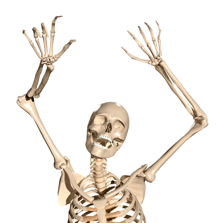 Spooky 3d human skeleton screaming