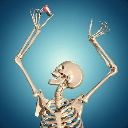 3d human skeleton holding pill in hands