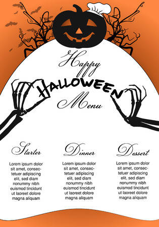 Halloween Menu Template with  pumpkin chef and skeleton hands