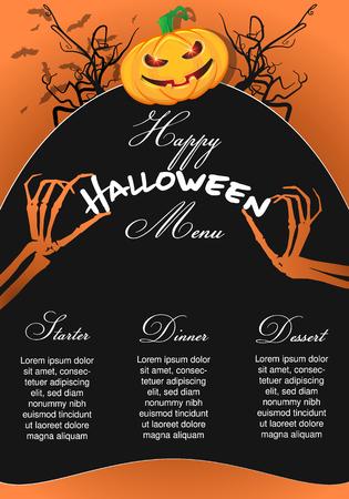 Halloween Menu Template with  pumpkin chef and skeleton hands Zdjęcie Seryjne - 109846560