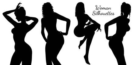 Ensemble de silhouette de femmes isolé sur fond blanc