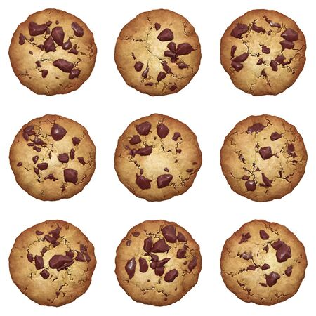 Chocolate chip cookies vector set