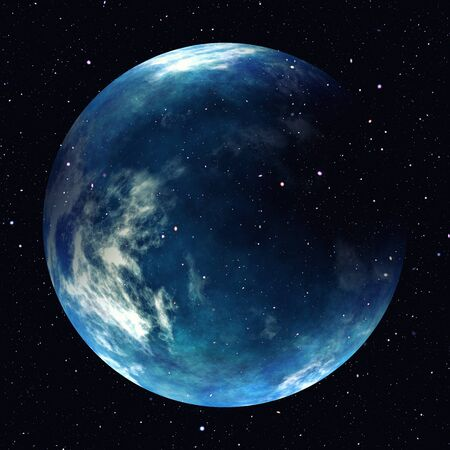 Earth planet in space with stars