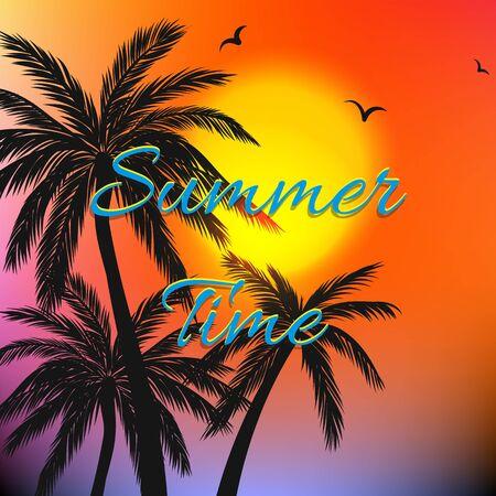 Fondo temático de verano con palmeras. Ilustración de vector
