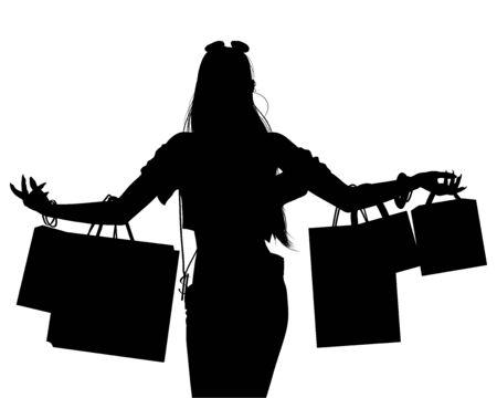 Fashion shopping girl silhouette with shopping bags