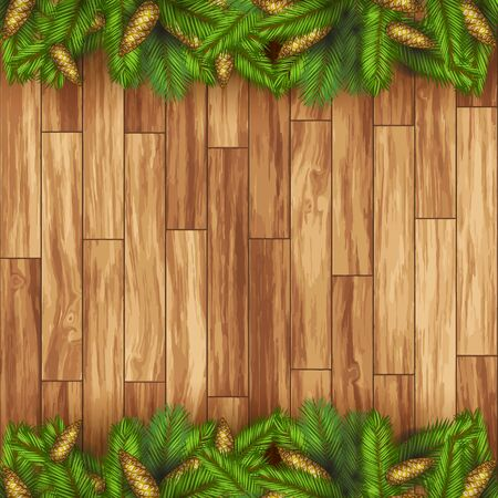 Christmas holiday wooden floor background with pine cones and pine leaves Ilustração
