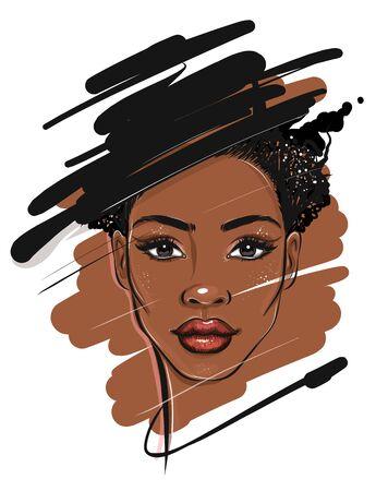 Schizzo di ritratto di donna afroamericana nera Vettoriali