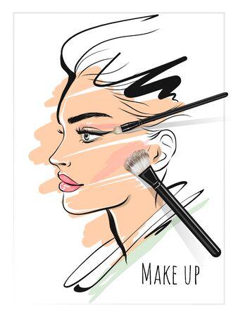 Maquillage art beauté visage élégant et pinceaux de maquillage