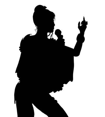 Sängerin Silhouette isoliert auf weißem Hintergrund