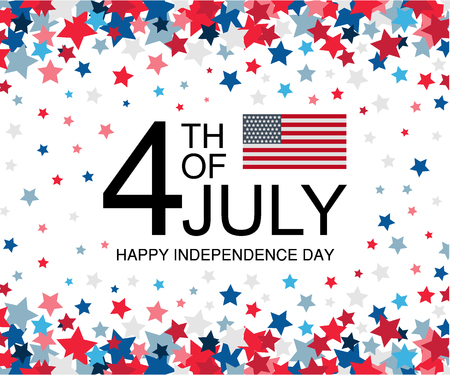 Independence day USA celebration banner template with american flag decor and falling stars background in red and blue colours. 4th of July holiday poster template. Vector illustration.