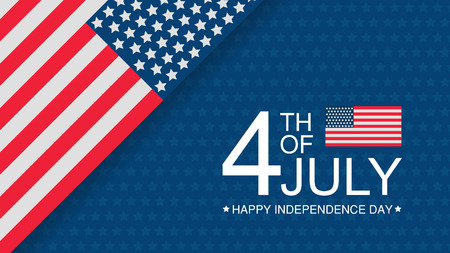 Independence day USA celebration banner template with american flag flat decor on background in red, white and blue colours. 4th of July holiday poster template. Vector illustration. Ilustração