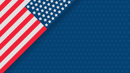 Independence day USA celebration banner template with american flag flat decor on background in red, white and blue colours. 4th of July holiday poster template. Vector illustration. 向量圖像