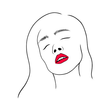 Horny woman with open mouth, with red lips. Line art hand drawn vector illustration