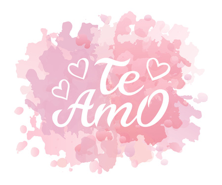 Hand drawn typography lettering Te amo. Te amo - I love you in Spanish, romantic decorative lettering. Vector Valentines day card, poster, t-shirt print background