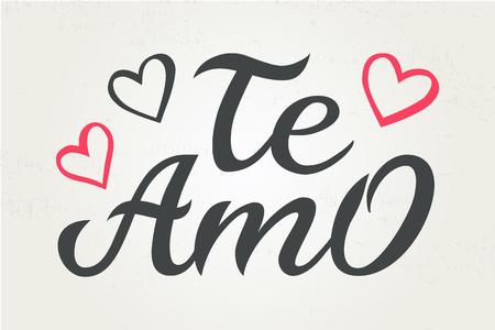 Handgezeichnete Typografie-Schriftzug Te amo. Te amo - ich liebe dich in spanischer, romantischer dekorativer Schrift. Vektor-Valentinstag-Karte, Poster, T-Shirt-Druckhintergrund