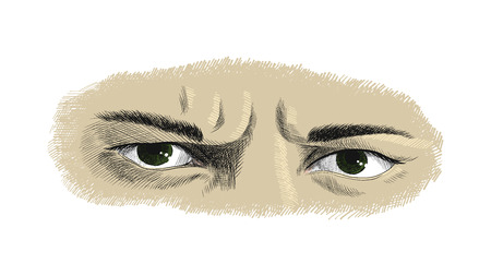 Mens frowning eyes with anger and resentment emotions, sketch vector graphics colorful drawing Illustration