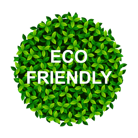 Creative Poster Or Banner with green leaves Earth ball and ECO Friendly text.