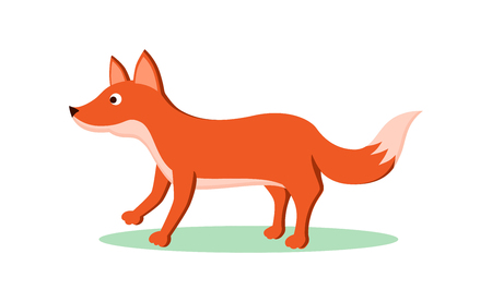 Tricky fox flat cartoon character. Forest animal personage, isolated on white.