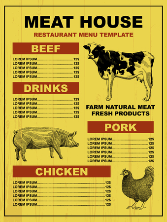 Meat house restaurant menu price template for meat dishes. Vector sketch design with cow, pig and hen illustration.