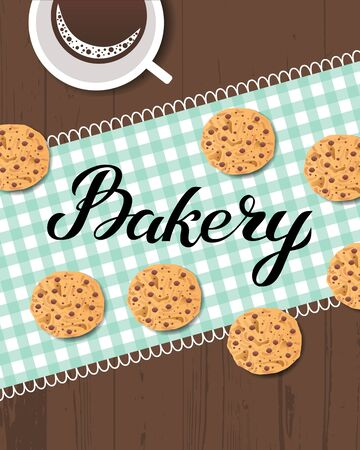 Bakery logo card. Typography hand drawn vector illustration, poster with wooden table with food and drink - cookies baking, checkered napkin and coffee mug. Banner template. Ilustrace