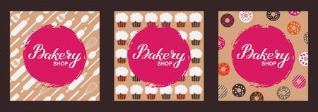 Bakery shop logo card set. Typography hand drawn vector illustration, poster with utencils, cupcakes, donuts. Banner template Banque d'images - 124893347
