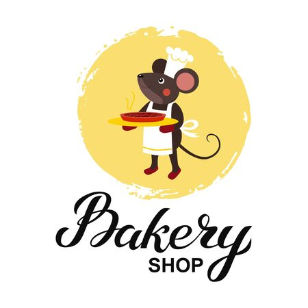 Bakery shop logo card. Typography hand drawn vector illustration, poster with mouse cook chef with hot pie in paws. Banner template. Ilustrace