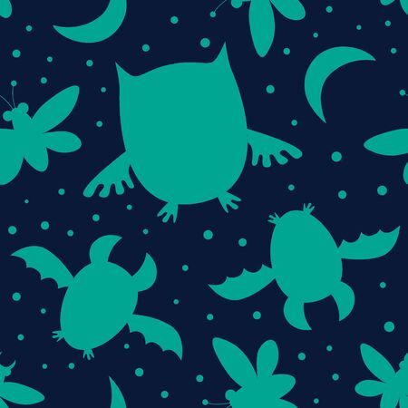 seamless pattern with night butterfly, owl, bat silhouette. Beautiful repeated texture with night animals. Neutral background, for kids clothes design Ilustração