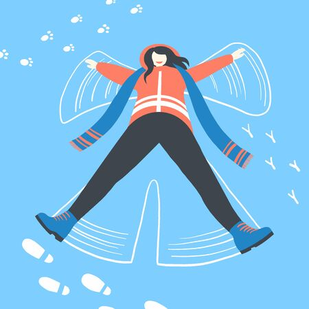 Woman in winter clothes make snow angel. Happy pretty girl make wings. A lot of different tracks in the snow. Winter holidays design illustration