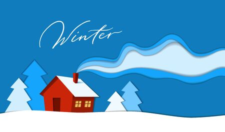 Beautiful house in winter season paper cut style background illustration. Merry Christmas and happy new year card. Hand drawn lettering script - Winter Vectores