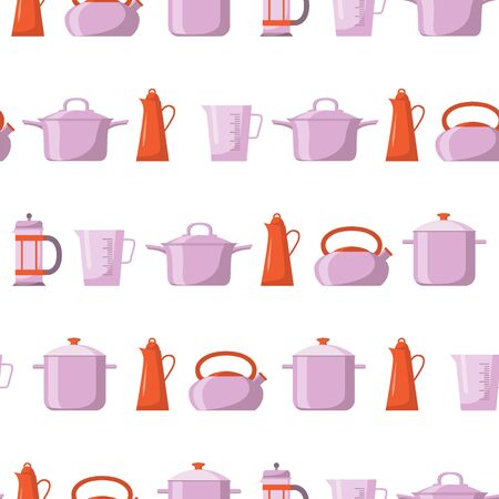 Kitchen tool flat icon seamless pattern. Vector illustration. Set with utensils for cooking, isolated