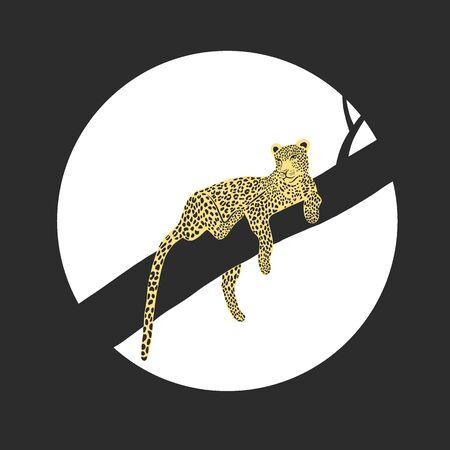 Vector illustration of african leopard - hand drawn retro vintage poster design. Panther animal portarit