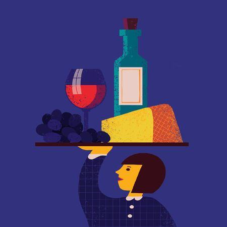 Illustration with waitress with tray with grape, cheese, wineglass, wine bottle on it. Restaurant menu design background, waiter character with food and alcohol drink.