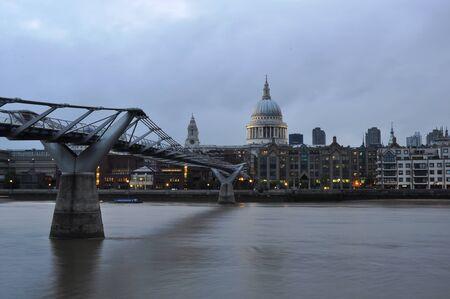 Millennium Bridge across the River Thames. Beautiful view.