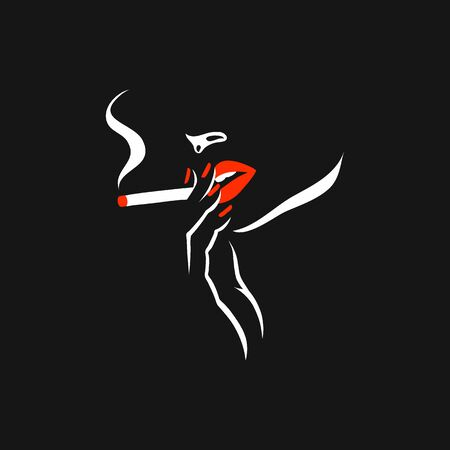 Smoking girl. Vector illustration of a young woman silhouette, retro cover design. Woman with cigarette, alone. Style red lips and nails, black, red and white drawing. Vettoriali