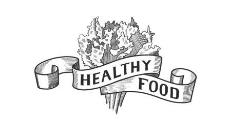 Hand drawn Healthy Food Logo lettering, badge, icon. Vegan or vegetarian poster. card, invitation. Vector illustration, vintage design typography