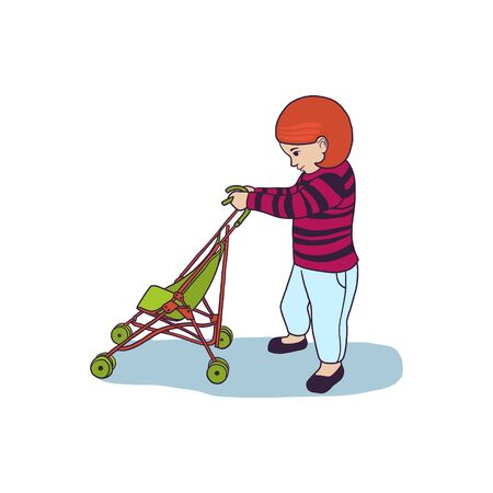 Vector illustration of baby girl with little stroller. Cartoon character, kid with pram, toddler in profile.