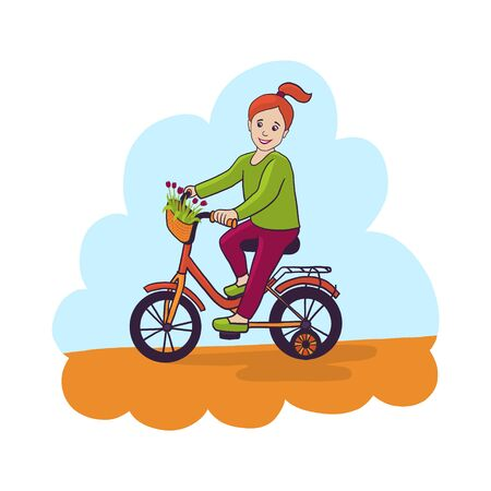 kids bicycle with basket with flowers for a girl vector illustration isolated on white background