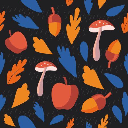 Autumn Thanksgiving day seamless pattern background, tree paper leaves, mushroom, apple, acorn, raindrop, design for fall season sale banner, poster, greeting card, vector illustration.