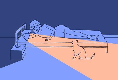 Illustrazione vettoriale di una giovane donna sdraiata sul letto. La ragazza è stata svegliata da un gatto miagolante. Accese la lampada da tavolo, la cui luce illuminava il gatto di notte. Stile cartone animato piatto.