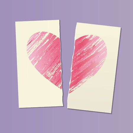 illustration with shaded pink heart on two halves of a torn sheet of paper. past love concept. anti-Valentines day card, vector Illustration