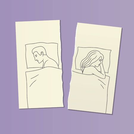 illustration with a couple in bed in a quarrel on two halves of a torn sheet of paper. sexual problems, male impotence, family disagreements concept. hand drawn characters, vector