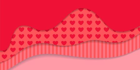 Happy Valentine's Day Background. Red vector greeting illustration with heart and stripe pattern, paper art design, abstract shape with shadows. Love symbol.