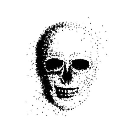Vector illustration of a skull made up of trees. concept of forest fire, drought, tree cutting, deforestation. Death of forest plants, environmental disaster poster. Black and white sketch art Standard-Bild