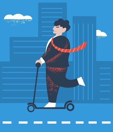 Office worker rides a scooter around a business city. Life in motion concept. Lifestyle design of a sports clerk character in a business suit. Enjoying life every moment. Vector illustration Illustration