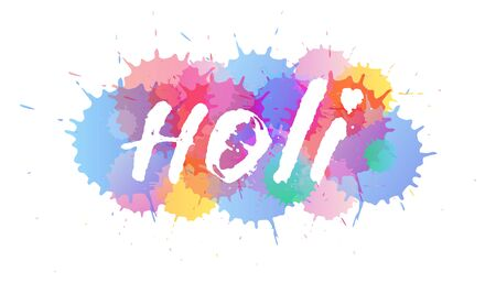 Indian Holi hand drawn lettering, Vector watercolor splash composition. Colorful happy holiday trendy gradients. Website background template, bright abstract modern design. Illustration