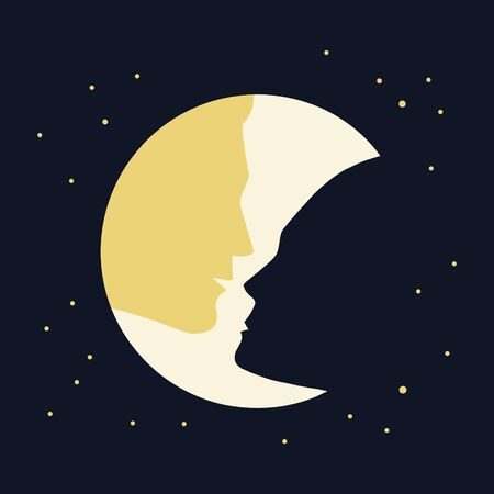 Couple - man and woman silhouette and the moon. Vector illustration of night sky with stars. Love concept design.