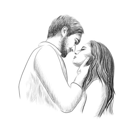 Couple in love - hand drawn vector sketch illustration with man and woman date. A second before the kiss moment